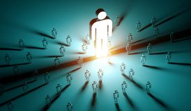 Leader illuminating a group of people 3D rendering Stock Photo