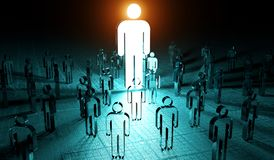 Leader illuminating a group of people 3D rendering. Leader illuminating a group of people on dark background 3D rendering Stock Photography