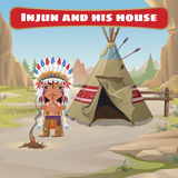 The leader of the Indians with tepee Stock Images