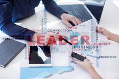 Leader. Leadership. Teambuilding. Business concept. Words cloud. Leader Leadership Teambuilding. Business concept. Words cloud stock photo