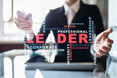 Leader. Leadership. Teambuilding. Business concept. Words cloud. Leader Leadership Teambuilding. Business concept. Words cloud stock image