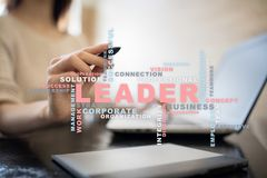 Leader. Leadership. Teambuilding. Business concept. Words cloud. royalty free stock image