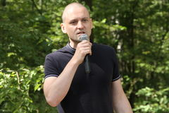 The leader of the Left front Sergei Udaltsov at a meeting of activists in the Khimki forest Stock Photos