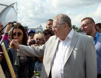 Leader of the Liberal Democratic Party of Russia Vladimir Zhirinovsky at the press festival in Moscow. MOSCOW, RUSSIA - AUGUST 26, 2017: Leader of the Liberal stock photos