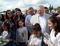 Leader of the Liberal Democratic Party of Russia Vladimir Zhirinovsky at the press festival in Moscow. MOSCOW, RUSSIA - AUGUST 26, 2017: Leader of the Liberal stock images