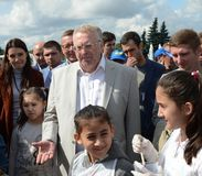 Leader of the Liberal Democratic Party of Russia Vladimir Zhirinovsky at the press festival in Moscow. MOSCOW, RUSSIA - AUGUST 26, 2017: Leader of the Liberal royalty free stock image