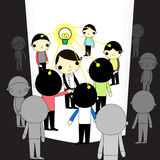 Leader of light. Leader with lamp light and has people around on white space Royalty Free Stock Photo