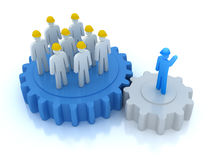 Leader is managing his work team . 3D concept stock illustration