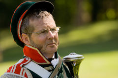 Leader of a marching band at a War of 1812 re-enac Stock Photos