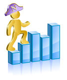 The leader moves up. Human in a suit Napoleons moving up the ladder. Vector Illustration Royalty Free Stock Image