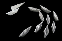 A leader of paper boats Stock Images