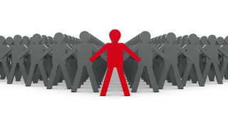 Leader and people. 3d image of a red leader ahead other people Royalty Free Stock Photos