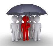 Leader and people are under umbrella. 3d leader is protecting people with an umbrella Royalty Free Stock Images