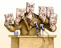 Leader. A politician speaks to the public with a set of masks Royalty Free Stock Photos