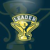 Leader Prize Cup Emblem. Vector Sport Trophy Sign, Symbol or Logo Template. Dark Background Royalty Free Stock Photo