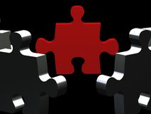 Leader puzzle on black Stock Images