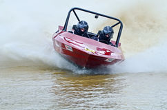 Leader racing speedboat competing at powerful speed Royalty Free Stock Photos