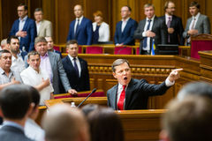 Leader of the Radical Party of Ukraine Oleg Lyashko. KIEV, UKRAINE - JUL 16, 2015: The leader of the Radical Party Oleg Lyashko at the session of the Verkhovna stock photography