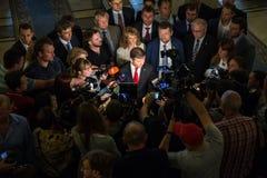 Leader of the Radical Party of Ukraine Oleg Lyashko. KIEV, UKRAINE - Jun 02, 2016: Leader of the Radical Party of Ukraine Oleg Lyashko, surrounded by journalists royalty free stock photo