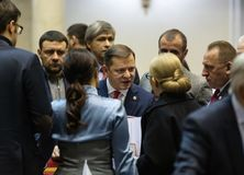 Leader of the radical party of Ukraine Oleg Lyashko. KIEV, UKRAINE - Nov. 26, 2018: Leader of radical party Oleg Lyashko during an extraordinary meeting of the royalty free stock photography