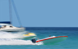Leader. Raicing of speedy boats. Royalty Free Stock Images