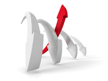 Leader Red Arrow Of Team Group. Business Success Achivement Stock Image