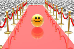 Leader on red carpet. Golden leader on red carpet Stock Photos