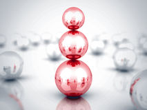 Leader Red Glass Sphere Pyramid. Leadership Concept. 3d render illustration Stock Photography