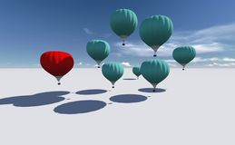The Leader red hot air balloons Royalty Free Stock Images