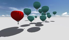 The Leader red hot air balloons Royalty Free Stock Photography
