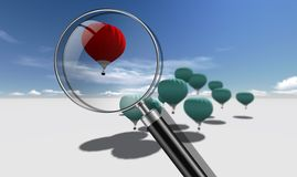 The Leader red hot air balloons Stock Photography