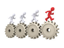 The leader is running in front of others. 3d people running on cogwheels and one is the leader Royalty Free Stock Image