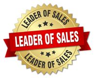 Leader of sales. Gold badge with red ribbon stock illustration