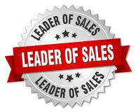 Leader of sales. Silver badge with red ribbon royalty free illustration