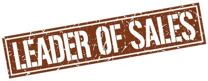 Leader of sales stamp. Leader of sales square grunge sign isolated on white. leader of sales royalty free illustration