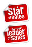 Leader of sales stickers. Royalty Free Stock Image