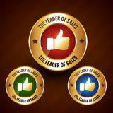 Leader of sales vector golden label badge with set of three diff Stock Photography