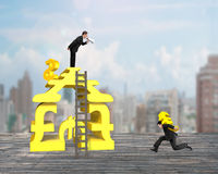 Leader shouting teammenber carrying Euro running for money stack Royalty Free Stock Images