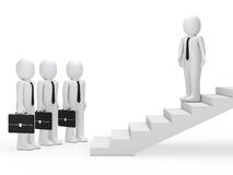 Leader show businessmen way on stairs. 3d leader show businessmen way on stairs Stock Photography