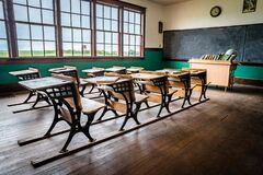 Leader, SK/Canada- June 19, 2020: The interior of an old, rural one-room schoolhouse on the prairies near Leader, Saskatchewan
