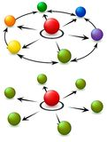 Leader sphere. Vector image of color balls and arrows at combinations stock illustration