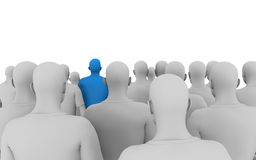 Leading. A 3d illustration of a different kind of person in a crowd, looking up vector illustration