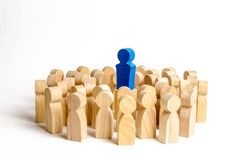 The leader stands at the head of the crowd. Business concept of leader and leadership qualities, Business concept of leader. And leadership qualities, crowd royalty free stock photography