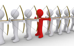 Leader stands out of many archers. Many archers in line but one is of different color Stock Photos