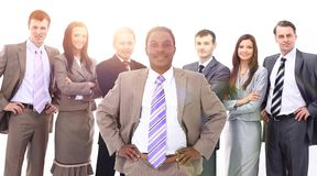 Boss of a multinational business team Stock Images