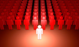 Leader (symbolic figures of people). 3D illustration rendering. Royalty Free Stock Images