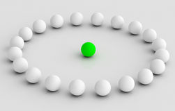 Leader taking to team in circle illustration Stock Photography