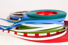 Leader tape. R is a nonmagnetic tape that is at the beginning and end of audio tape Royalty Free Stock Images