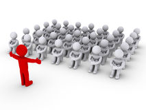 Leader is teaching people. Red 3d person in front of other grey 3d persons is teaching them Royalty Free Stock Image