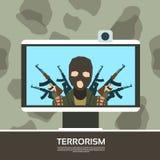 Leader terroriste On Tv Screen coulant la télévision Photographie stock libre de droits
